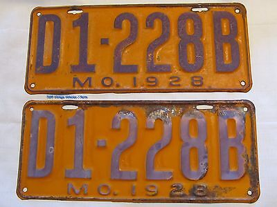 1928 Missouri Dealer Tags License Plates Pair Model Ford  A T B