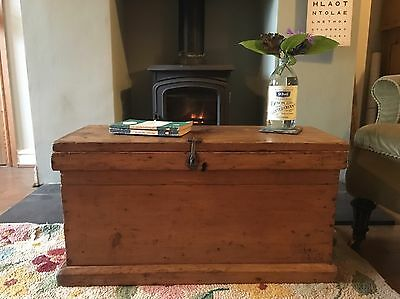 Antique Rustic PINE CHEST, Small Wooden TRUNK, Old Coffee TABLE, Vintage BOX