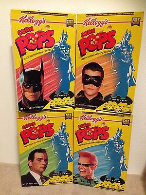 BATMAN FOREVER Kelloggs Corn Pops Cereal Boxes - Set of 4 - RARE