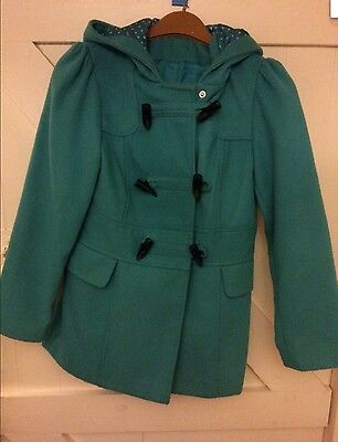 Green Girls Duffle Coat Beautiful Age 7 - 8 Winter Smart Hooded Pockets George