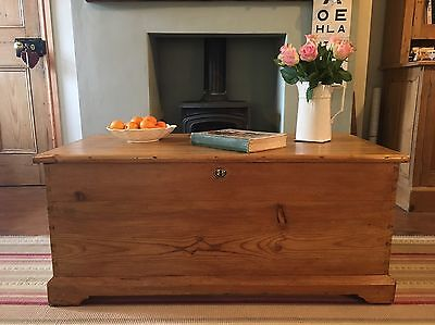 Antique Victorian PINE Blanket CHEST, Old Wooden TRUNK, Coffee TABLE Vintage BOX