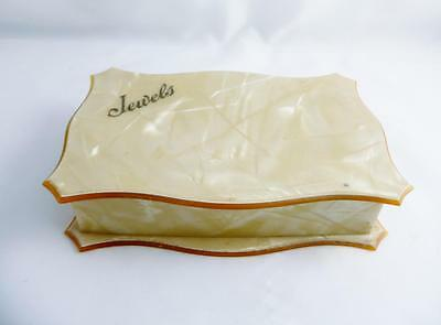 Vintage 1950s Cream Orange Marble Effect Celluloid Jewels Jewellery Box By Ausco