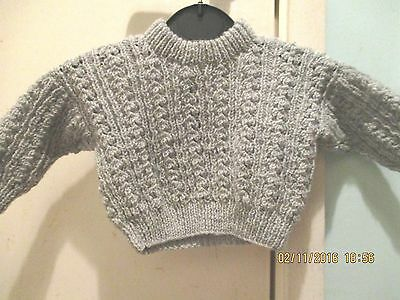 Boys Acrylic Handmade Long Sleeved Grey Eyelet Ribbed Style Jumper 0-3 Months