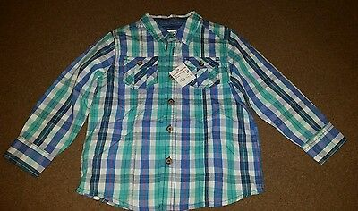Baby Boys blue/green checked Shirt,  smart casual, 18-24 Months. NEW - BNWT.