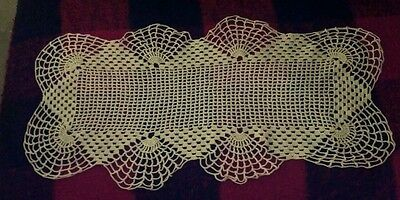 Vintage Small Crochet Off White Table Runner