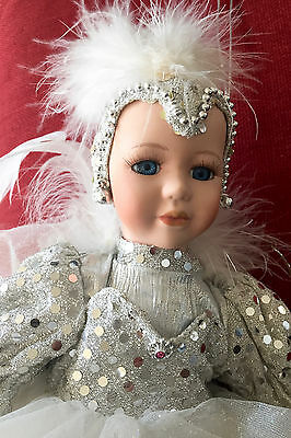 1980's Vintage Ballerina in Silver Outfit Sitting on a Satin Moon • 98% MINT!