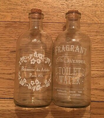 Vintage Shabby Chic Style Glass Perfume Bottles X2
