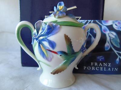Boxed Franz Porcelain Hummingbird Collection Sugar Box & Cover FZ00134 by K Mei