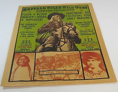 Vintage Antique Buffalo Bill's Wild West and Pioneer Exhibiton Litho Poster