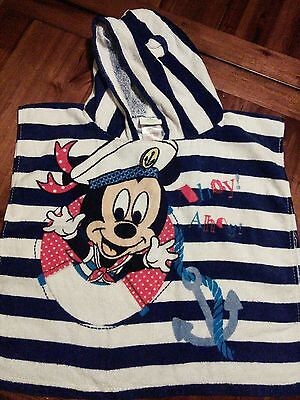 DISNEY BABY Mickey Mouse hooded toddler nautical beach towel cover up Age 1-2 3