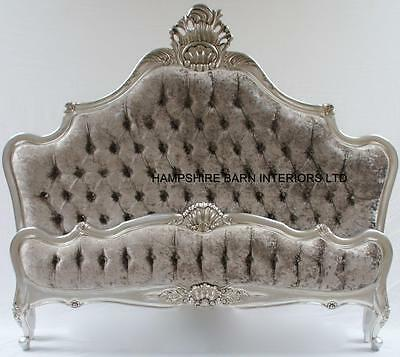 Silver Leaf 5Ft  King Bed W Silver Crushed Velvet Crystals French Style Ornate