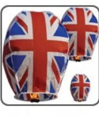 X 4 Union Jack- Sky Fire Lanterns-New Year  Christmas Festive Party JOBLOT SALE