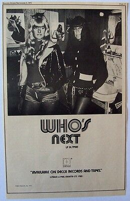 THE WHO 1971 Poster Ad WHO'S NEXT pete townshend roger daltrey