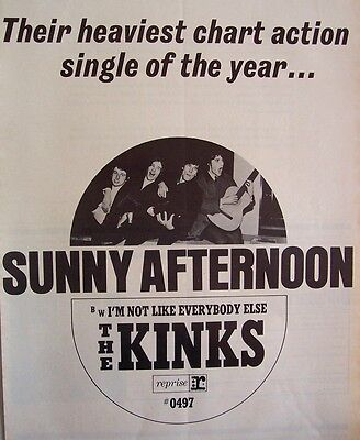 THE KINKS 1966 Poster Ad SUNNY AFTERNOON