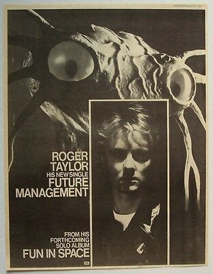 queen ROGER TAYLOR 1981 Poster Ad FUTURE MANAGEMENT