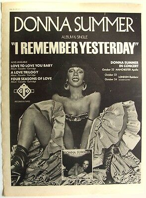 DONNA SUMMER 1977 Poster Ad I REMEMBER YESTERDAY