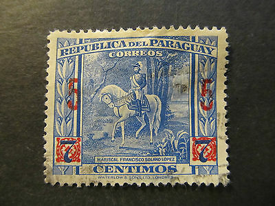 1945 - Paraguay - Surcharged In Red - Scott 414 A101 5C On 7C