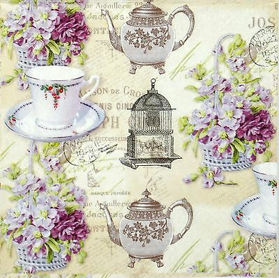 4x Single Lunch Table Party Paper Napkins for Decoupage Decopatch Craft Isabelle