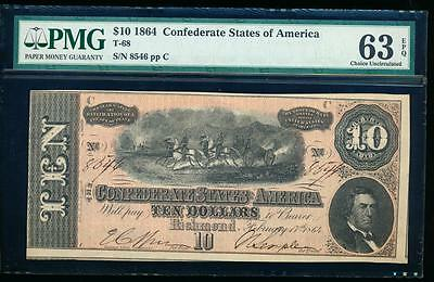 AC T-68 $10 1864 Confederate Currency CSA PMG 63 EPQ