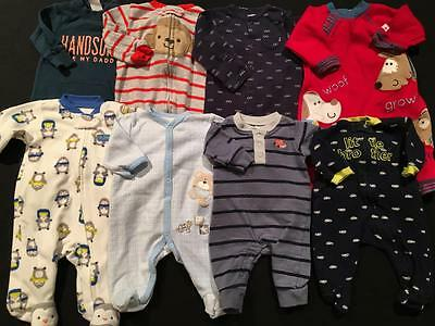 Baby Boys Size Newborn, 0-3, 3 Months Carters Sleepers Pajamas Clothes Lot B2