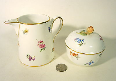 Antique MEISSEN Germany Hand Painted Porcelain SCATTERED FLOWERS Creamer Sugar