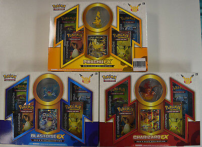 Pokemon Red & Blue Charizard Pikachu Blastoise EX Sealed Collection Boxes Lot