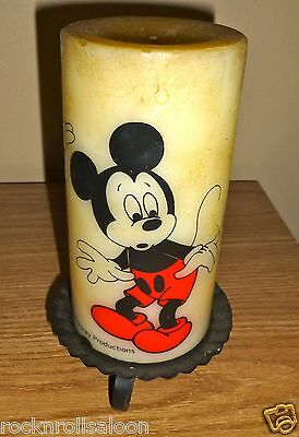 Walt Disney Productions vintage Mickey Mouse pillar Candle with stand 1970s