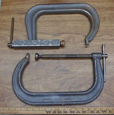 "Old Used Tools,2 Huge Heavy Duty Wilton ""C"" Clamps,410-10"" Cap. & 4408 W/8"" Cap."