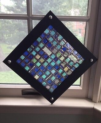 Stained Glass Window Art Panel In Upcycled Black Metal Frame.            *1630