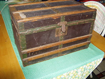 Antique wooden chest, Very Old. Good Condition. Original Green Metal Strips