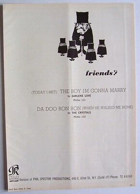 THE CRYSTALS DARLENE LOVE 1963 Poster Ad PHIL SPECTOR PHILLES RECORDS da doo ron