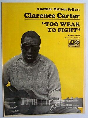 CLARENCE CARTER 1968 Poster Ad TOO WEAK TO FIGHT