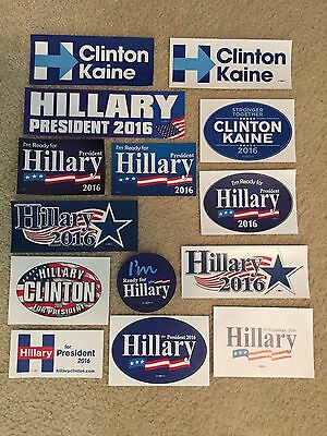 Collection Set Of 14 Hillary Clinton Tim Kaine President Bumper Stickers 2016