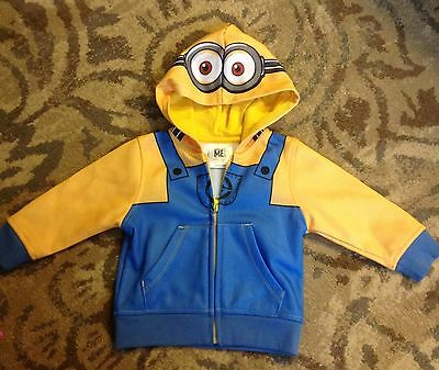 NEW Despicable Me minion hoodie Sweatshirt Kids 12m Minions zip-up boy girl