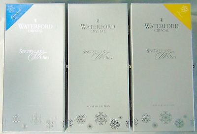 """3 asst WATERFORD Crystal, SNOWFLAKE Wishes, LD """" Champagne Flute Glasses & BOXES"""