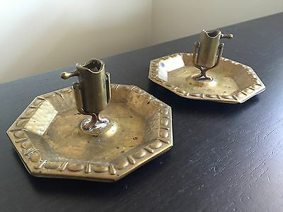 Fine Antique Arts & Crafts Hammered Copper PAIR Ashtrays Swivel Match Holder NR