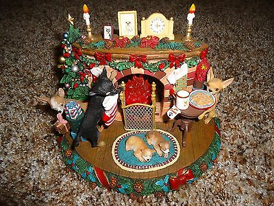 Danbury Mint A Cozy Chihuahua Christmas Eve Sculpture