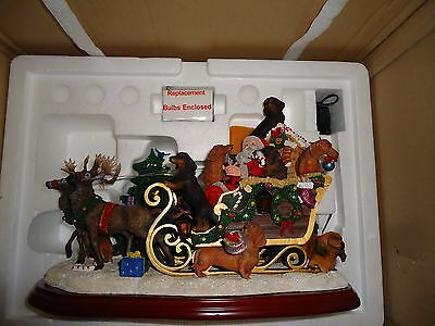 Danbury Mint Dachshund Christmas Sleigh New In Box!