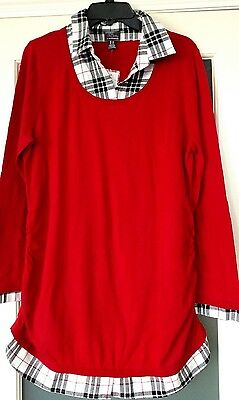NWT Maternity Oh Baby by Motherhood Mock-Layer Long Sleeve Sweater SZ L $56