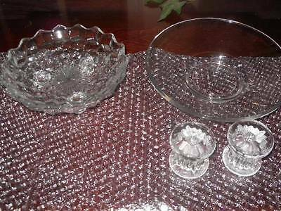 Lot Of Vintage Glass Footed Bowl Mini Candle Holders & Wexford