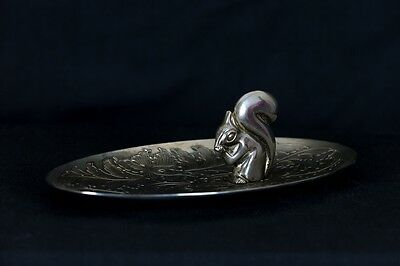Silver Serving Tray with Squirrel