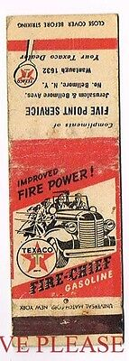 1940s Texaco Fire Chief Gasoline Truck Five Point Service New York Matchcover