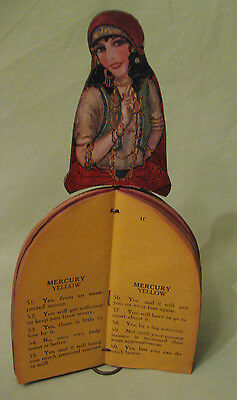 Rare Antique 1920's Gypsy Fortune Telling Doll on Metal Stand 9 1/2 inches