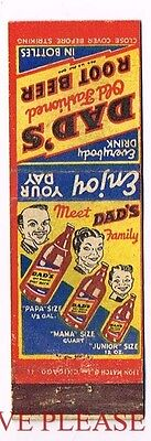 1940s Dad's Root BeerMama Papa Junior Family Matchcover