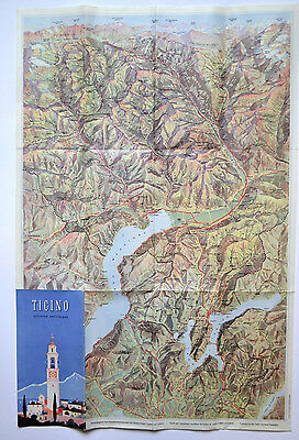 MAP BROCHURE Ticino Southern SWITZERLAND 1950 panorama by Otto Betschmann Italy