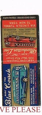 1940s Blue Coach Lincoln Tunnel Bus Line Matchcover
