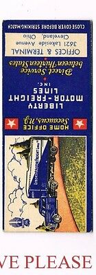 1930s Liberty Motor Freight Lines Seamus New Jersey Truck  Cleveland Matchcover