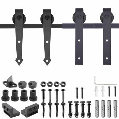 6FT 6.6FT Carbon Steel Sliding Barn Wood Door Hardware Track System Closet Set