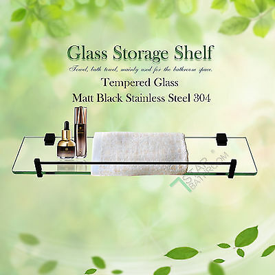 Display Glass Shelf Bathroom Living-room Single Layer Wall Mount Black Stainless