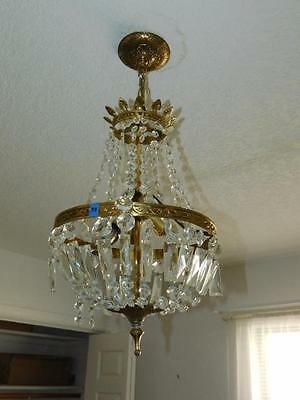 Vintage Crystal Chandelier Perfect for Dining / Entry Room Needs Crystals pieces